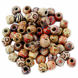100pcs Mixed Large Hole Wooden Beads-Jewelry Charms Crafts Making DIY Beads