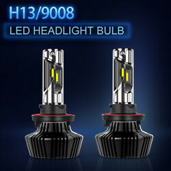 4 Sides LED Headlight Kits H13 9008 High Low Beams HID Pure White 6000K Bulbs