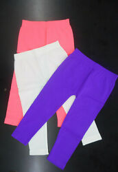 Girls Pink House 3 Pack Leggings Neon Pink Neon Purple amp; White One Size 4 6x $12.88