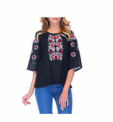 Black Shirt Embroidered. National Folk Rustic. Cross stitch. Red roses. Boho ... $55.00