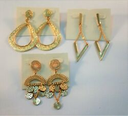 Lot of 3 Gold tone textured hoops disc dangles geometric dangle earrings $6.00