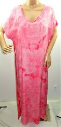 Misslook Women Size XL Red Coral Tie Dye Maxi Long Summer Sun Dress Cover Up