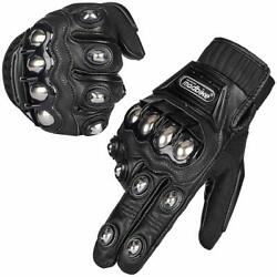Alloy Steel Leather Touchscreen Motorcycle Bicycle Motorbike Powersports Gloves $24.99