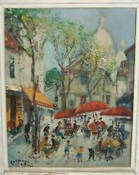 French art antique Impressionist naive oil painting Pissarro Moret style $199.00