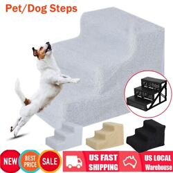 Pet Puppy Step 3 Steps Dog Cat Stairs Ladder Climb Ramp WCover for Couch or Bed
