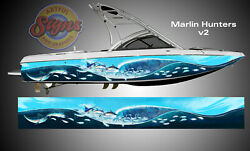 Marlin Hunters Boat Wrap Fish Design 3M IJ180 Cast Vinyl Film UV Laminate