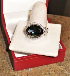 9.97 ct. Green Mystic Topaz & White Sapphire Size 7 or 7.25 Ring in 925 Sterling
