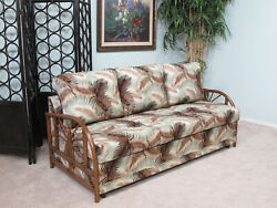 Made in USA Contract Quality Rattan Queen Sofa Sleeper Bed (#9021AW-MS)