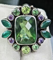 KNOCKOUT COLOR IN A NICKY BUTLER STERLING   RING IN A LUCKY SIZE 8