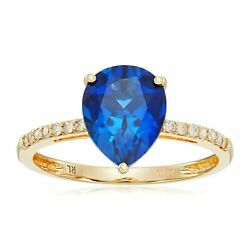 Created Blue Sapphire & 110 ct Diamond Ring in 10K Gold