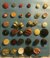 Lot of 33 Vintage buttons! Bakelight early plastic composites Gorgeous variety