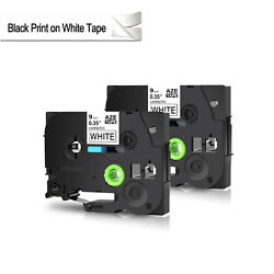 2PK TZ TZe-221 Black on White Tape 9mm For Brother P-touch  2100 Lable Printer
