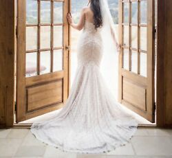Watters Wtoo Pippin Strapless Lace Wedding Dress -Size 6 Extra Long $810.00
