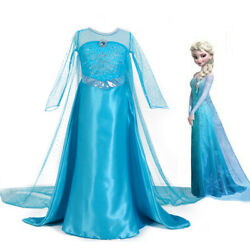 Kids Girls Elsa Dress Princess Party Fancy Dresses Xmas Cosplay Costumes Outfit