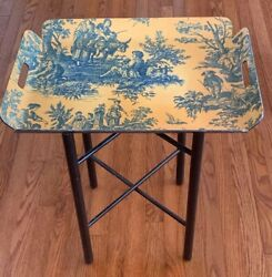 Large  Serving BUTLER Tray 21.5 X 16 With Folding Stand TOILE