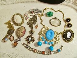 VtG Lot 14 Glass Resin Cameos Intaglio Pendant Necklace Pins Earrings