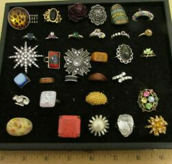VINTAGE LOT OF 32 COSTUME JEWELRY RINGS(COCKTAILENAMEL) VARIOUS SIZES(EMMONS)
