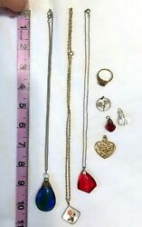 Vintage Costume Jewelry Lot Necklace Ring Pendant Glass or Crystal AB  Art Deco