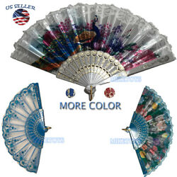 Wedding Party Lace Silk Folding Hand Fan Chinese Style Floral Flower Home Decor1 $5.49