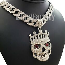 Hip Hop Crowned Skull Pendant amp; 18quot; Full Icy Cuban Choker Chain Necklace Set $17.09