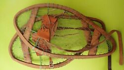 Vintage Wooden Bear Paw Snowshoes Faber Snowshoes 24quot;x13quot; Leather Bindings C $50.00