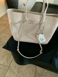 NWT AUTHENTIC CHANEL LIGHT BEIGE LARGE SHOPPING BAG MUST SEE!!!!!!!!!!!!!!!!!!!