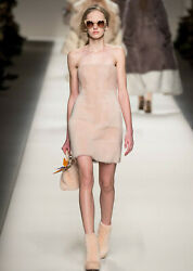 FENDI Pink Lamb Fur Bustier Strapless Dress 40  2  4