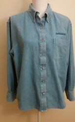 Butler University Women's Shirt Size Large Blue Chambray Long Sl Cotton Top