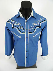 Mens Western Rodeo Shirt Blue with Embroidered Cowboy Hats Florals Snap Up