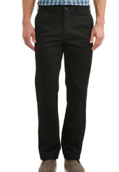 Mens George Classic Fit Flat Front Easy Care Black Soot Dress Pants - Black