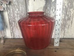 Victorian Antique Cranberry Hanging Oil Lamp Parts Glass Wave Shade Brass Parts $375.00