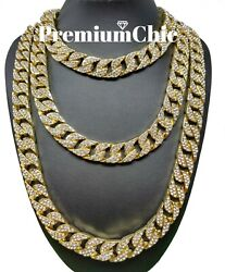 ICED Miami Cuban Choker Link Chain Men's Hip Hop Necklace Gold  Silver Plated $11.99