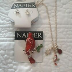 New Napier Gold Tone Cardinal on a Branch Pin & Matching Necklace Earrings Set