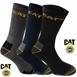 3 PAIR CATERPILLAR CAT WORK SOCKS  BLACK - NAVY - CHARCOAL-GRAY MENS 10-13 13-16