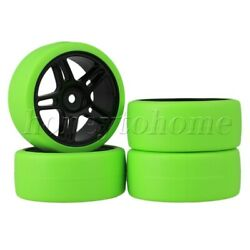 RC Wheel Rims amp; Green Tyres for RC 1:10 On Road Racing Car 12mm Drive Hex $14.89
