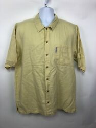 Columbia Yellow Short Sleeve Button Shirt Men's Large. T188