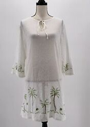 Blue Island Womens Cover Up Tunic White XL Embroidered Palm Trees Long Sleeves $4.99