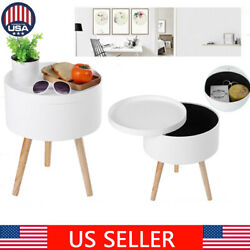 Wood Side Coffee Tea Table Storage Decor with Serving Tray Round White Home
