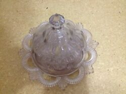 Vintage Covered Butter Sun-Colored Purple Serving Dish