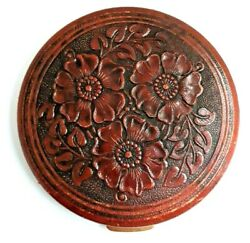 Vintage REX Fifth Avenue Brow Leather FLAPJACK Compact with Embossed Flowers.