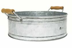 Round Metal Bucket Tray - Galvanized Farmhouse Decor with Wooden Handles for ...