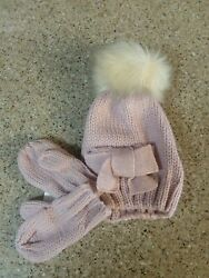 Baby Girl Infant Knit Beanie Hat Pom Pom - Bow And Matching Mittens Mauve Pink