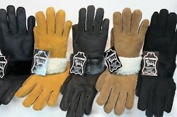 5 COLORS 100% REAL SHEEPSKIN SHEARLING LEATHER GLOVES UNISEX Fur Winter S 2XL $21.90
