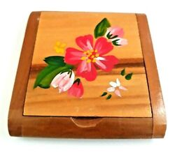Vintage WWII Rare Sweetheart Wooden Powder Compact with Hand Painted Flower.