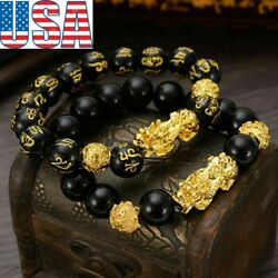 Feng Shui Pi Xiu Bracelet Black Obsidian Beads Attract Wealth& Good Luck Gift US