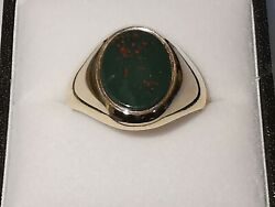 BLOODSTONE 9ct 375 yellow GOLD OVAL SIGNET RING opaque green jasper red hematite