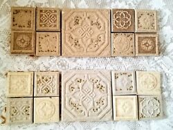 Vintage set of mosaic ceramic Tiles. Lot of 2.ornate and embossed.