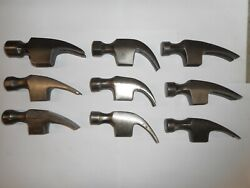 Lot of 9 Claw Hammer Heads Carpentry Wood Working Shop Handles Restore
