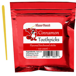 Flavored Toothpicks Hot Cinnamon Mint Cherry Licorice & Other Flavors - 100ct
