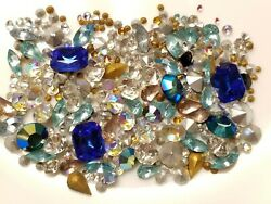 500 pc VINTAGE LOT 5ss-10mm Point Back Crystal Glass Chaton Rhinestones Jewelry